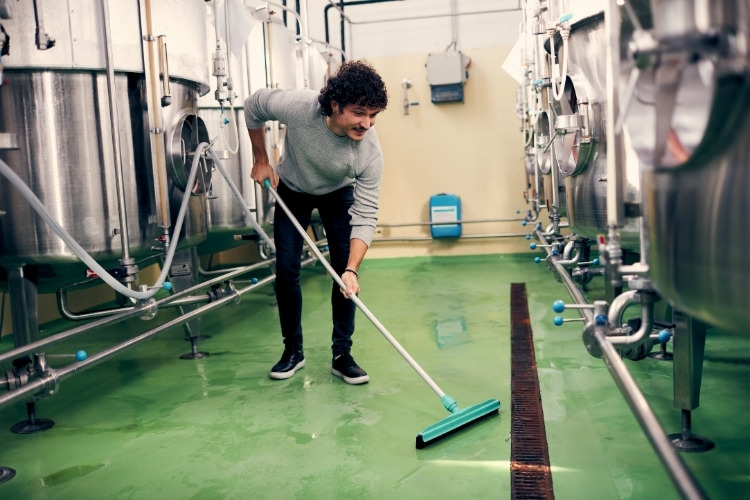 cleaning the brewery