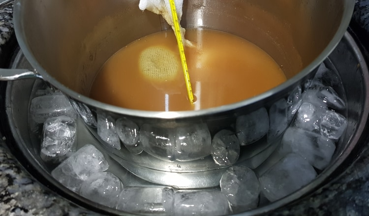 cooling wort in a bath of ice