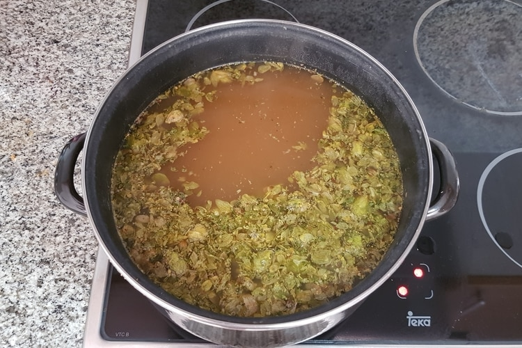 wort with hops
