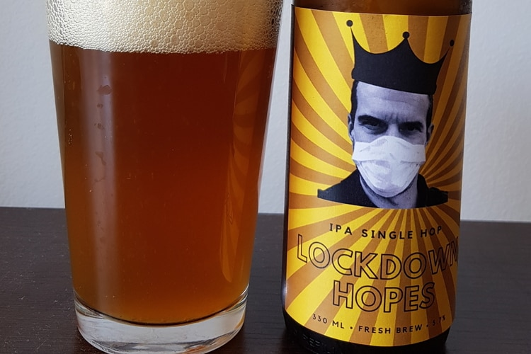 lockdown hopes beer with cool label