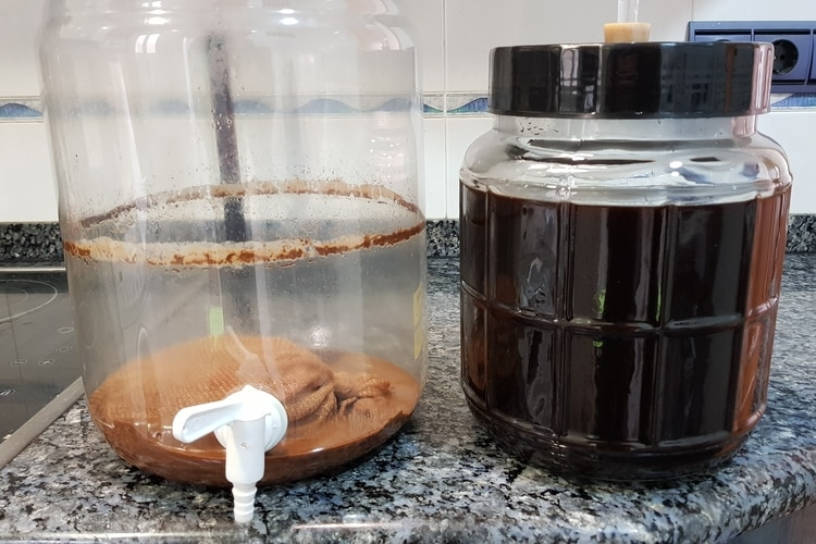 black beer racked to secondary fermenter