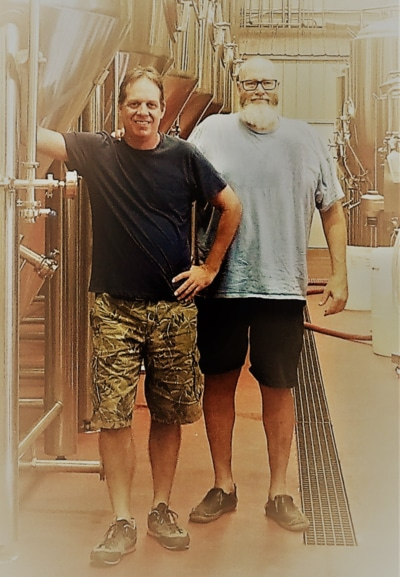 sam and jonas in brewery